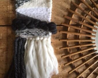 BlackSheep 3 hanger, weaving, tapestry, Bohemian spirit. Off white, black, gray tones. Pure wool, mohair, angora.