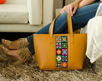 Embroiderd Leather Tote bag Mustard- Wixárika Mexican Art