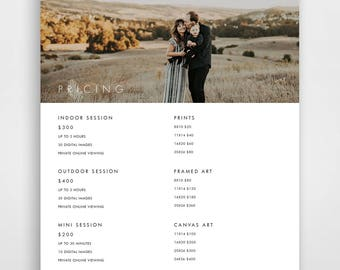Photography Pricing List, Pricing Guide, Pricing List Template, Photographer Price List, Pricing Templates, Photography Pricing Guide