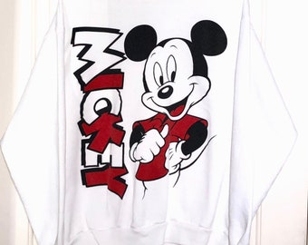 90s Micky Mouse Disney Double Sided White Crewneck Sweatshirt Adult Size Large