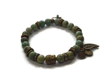 Buddha Bracelet - Green Prace - Stretch Bracelet