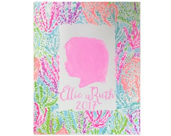 Designer Inspired Lilly Pulitzer Silhouette Painting, Portrait of Children, Custom Painting, Affordable Art, Personalized Gift for Her
