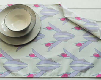 Tea Towel in Tulips Pink Pattern Made from 100% Cotton