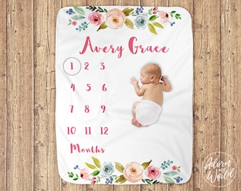 Monthly Milestone Blanket, Month By Month Baby Blanket, Floral Milestone Blanket, Floral Baby Blanket, Personalised,  Baby Girl Name Blanket