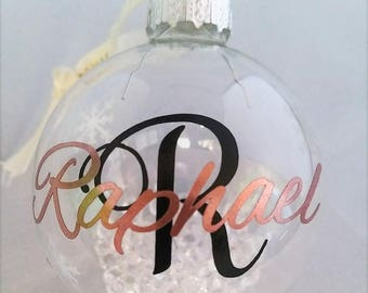 60mm Christmas tree Bauble Clear with diamante filling and personalised ***LIMITED STOCK***