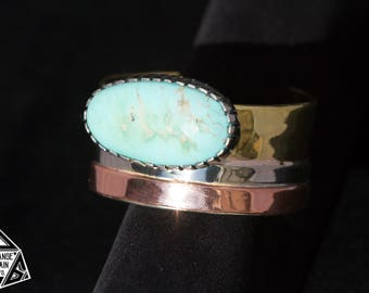 Women's • Sterling Silver • Copper • Brass • Turquoise Cuff • Kingman Turquoise • Oval • Handmade • Silversmith Jewelry • Tri-Metal • Blue