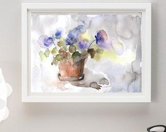 print, fast loading, digital painting, art, flowers print, purple print, blue flowers, floral print, decor, painting, watercolor, jpg