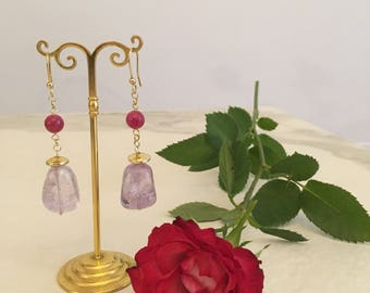 Purple pendant earrings. Silver earrings and semiprecious stones. Amethyst Earrings. Boucles of Oreilles. Fuchsia woman earrings.