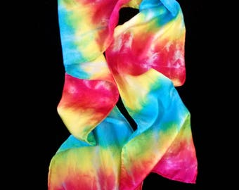 Unique Hand Tie-Dyed Silk/Satin Scarf