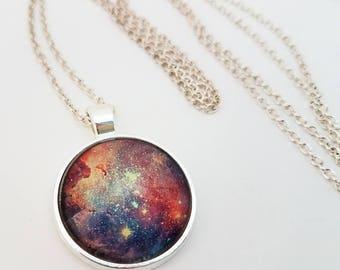 Galaxy Necklace Glass Cabochon Jewelry Nebula Pendant Pink Purple Blue Photo Space Stars