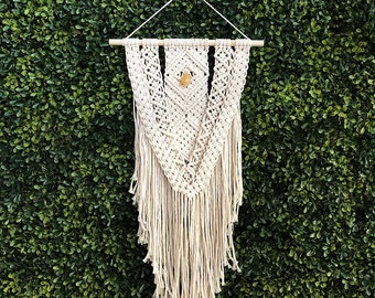 Macrame Wall Hanging on Wooden Dowel with Yellow Citrine Crystal, Woven Wall Hanging, Boho Hippie Tapestry, Bohemian Decor, Statement Piece