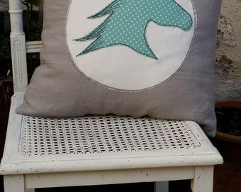 Handmade Horse head silhouette cushion cover, linen cover with cotton applique, shabby chic. Ideal for horse lovers!
