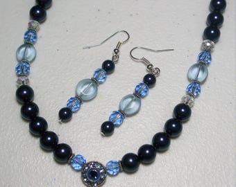 18in. Glass Beaded Necklace and Earring Set, light blue crystals, navy blue pearls, silver accents