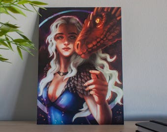 Game of thrones poster, game thrones illustration, daenerys art print, mother dragon poster, khaleesi drawing, blue dress, dragon poster got
