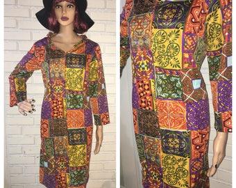 Vintage 60's Patterned Travel Talk Dress