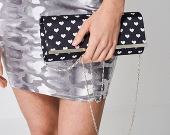 Clutch Bag Printed With Hearts