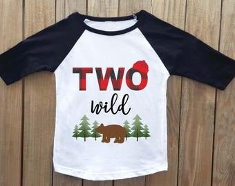Two Wild, Lumberjack Birthday Shirt,  2nd Birthday shirt, Buffalo Plaid, Lumberjack Party, Woodland Birthday, Two Wild Birthday. lumberjack