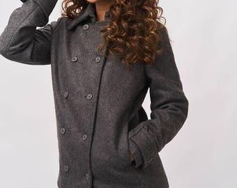 Short Wool Coat - Ash Grey