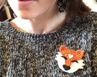 Felted Fox Badge