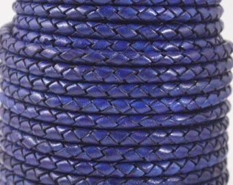 5mm - 1 Yard, Leather Cord, Braided Bolo, Bracelet Cord, Braided Cord, Necklaces Cord - Rich Navy