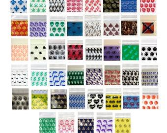 "100-200 1010 Lot Apple Ziplock Baggies Harley Dolphins Cross Ice Cream Cones Louie Vuitton Royal Crowns Dice ALIENS 1.0x1.0"""
