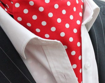 Cravat Ascot. UK Made. Red & White Polka Dot. Cravat Hanky.Premium Cotton.