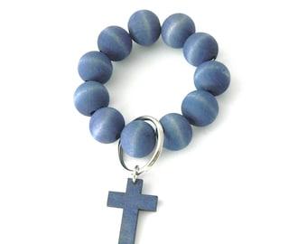 Keychain Bracelet, Bracelet Keychain, Beaded Key Wristlet, Bracelet for Keys, Keychain Jewelry, Dyed Wood bead keychain, Cross, Faith