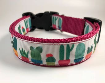 "Handcrafted 1"" Cactus and Succulent Dog Collar"