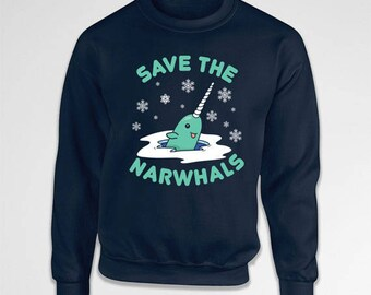 Funny Christmas Hoodie Narwhal Sweater Holiday Outfit Christmas Humor Xmas Clothing Buddy The Elf Sweatshirt Holiday Sweatshirt TEP-413