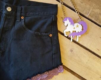 Vintage Levi Shorts With Lace Trim