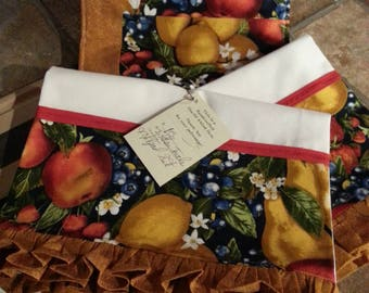 Fruit & Veggies Floursack Kitchen Towel Set (2) w/ Hotpads