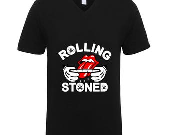 Rolling Stoned 420 Friendly Week Marijuana High Trend Clothing Adult Unisex Men Size V Neck Tee Shirts for Men and Women