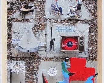 City blending - 3D paper collage frame