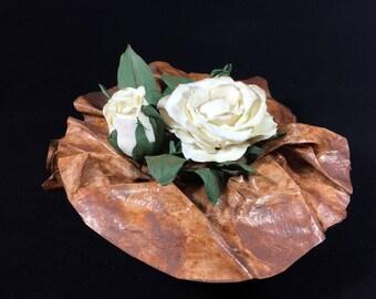 Antique Rose-cold porcelain and paper mache