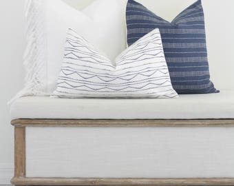 White and blue aztec Pillow, pillow cover, farmhouse pillow, accent pillow, accent pillow cover
