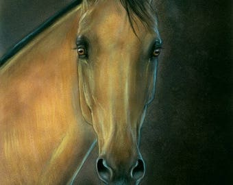 Golden Horse Original Watercolor Painting