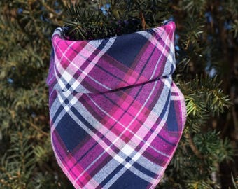 Penelope | Plaid Dog Bandana | Dog Scarf | Spring Dog Bandana | Valentine's Day Dog Bandana | Traditional Square Bandana |