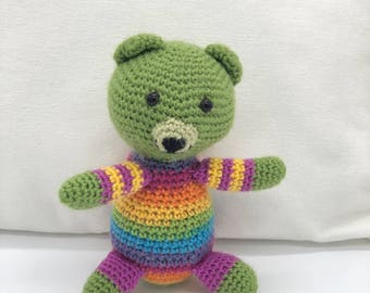 Small Crochet Teddy Bear, Amigurumi Bear, Rainbow Teddy Bear Plush Toy, Cute Crocheted Bear, 100% Wool Yarn