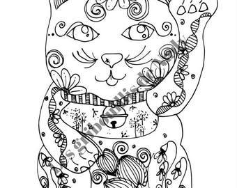 Mandala Chat chinois à colorier et à imprimer vous-même - chat - chinois - asiatique - mandala - zentangle - fait main - anti-stress