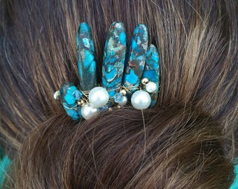 Turquoise Asymmetrical Hair Comb | Turquoise Crown, Wedding Accessories