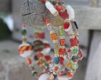 Autumn Color Memory Wire Bracelet