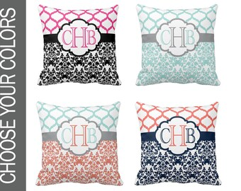 DAMASK PILLOW, Throw Pillow, Couch Pillow, Damask Nursery, Pillow Cover or With Insert, Matching Bedding, Choose Your Colors -Made USA