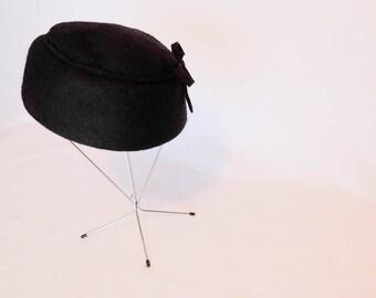 Vintage Black Felt Pillbox Hat with Bow Detail