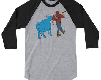 Paul Bunyan/Babe the Blue Ox Native Minnesota Men's/Unisex Long Sleeve Raglan Shirt