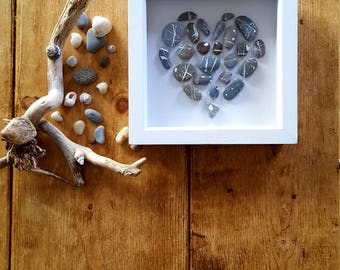 Dashed Pebble Heart Box Frame Picture