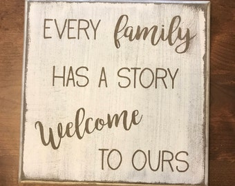 Farmhouse Family Welcome Rustic Wood Sign