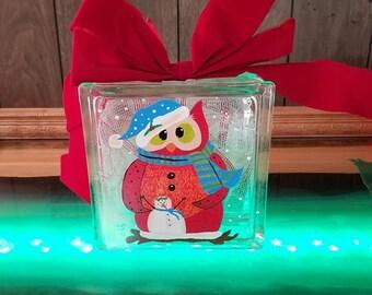 Hand Painted Christmas Owl Decorative Glass Block with Lights , home decor, Owl, custom, night lamp, glass painting, lights , christmas