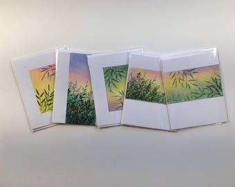 SALE! Set of 5 blank cards, original artwork, not reproductions, A2, fine cards, notecards, SKU BLA2SET6