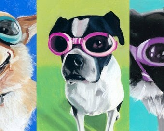 Dogs in Goggles custom pet portrait