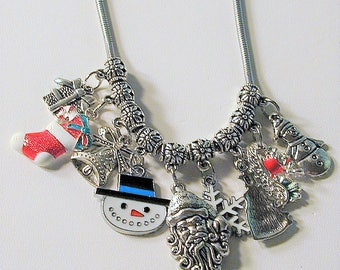 Christmas Inspired Charm Necklace Handmade OOAK